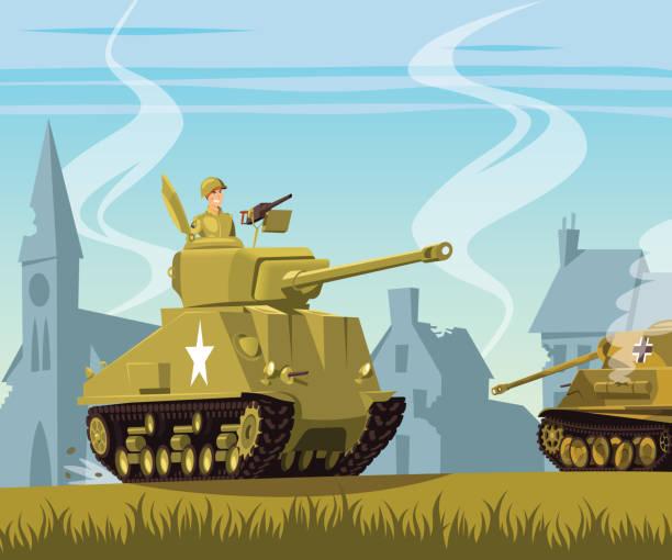 american tank on world war two battlefield - world war ii stock illustrations, clip art, cartoons, & icons