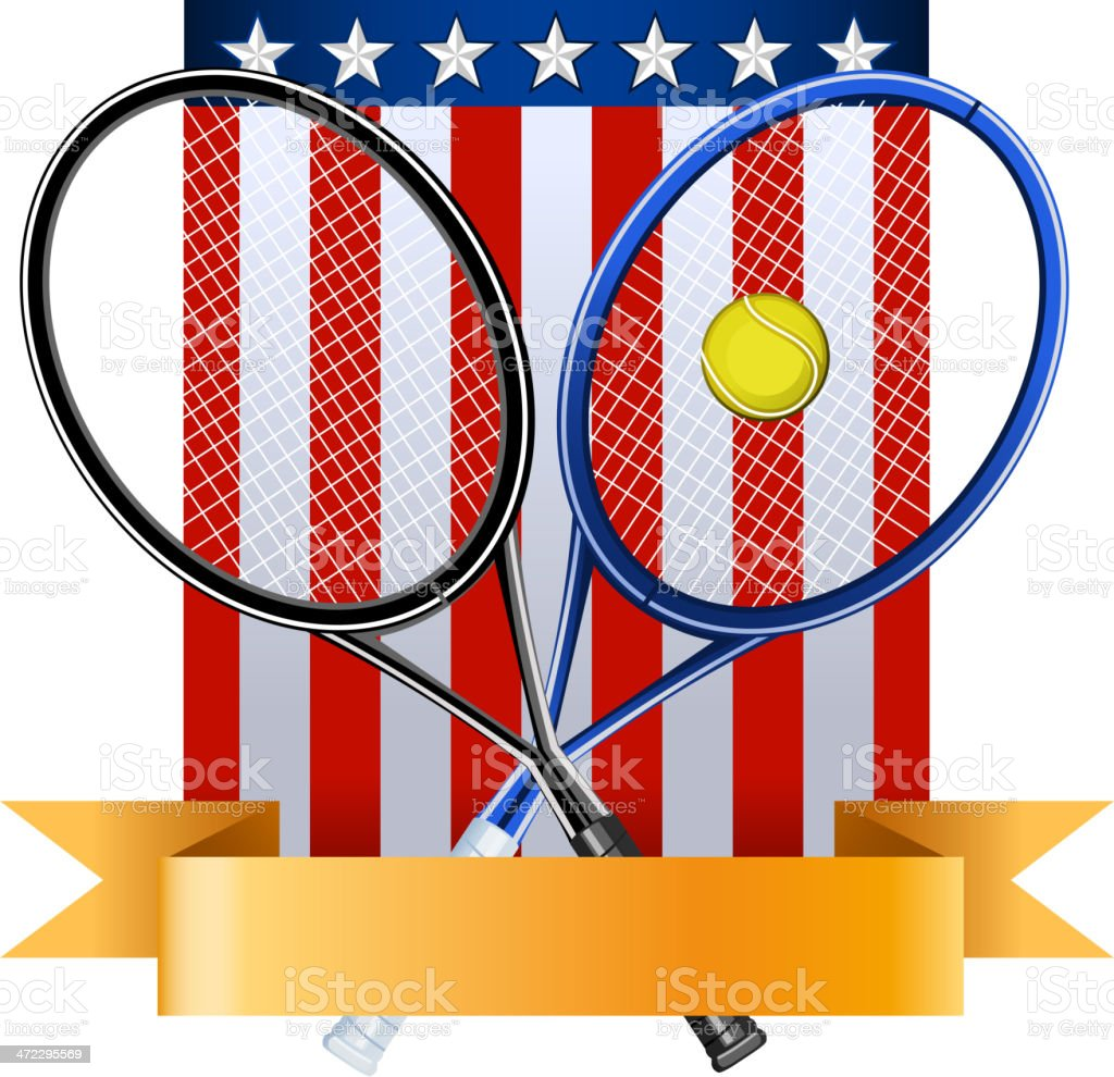 American tennis emblem with rackets ball and EEUU flag royalty-free stock vector art