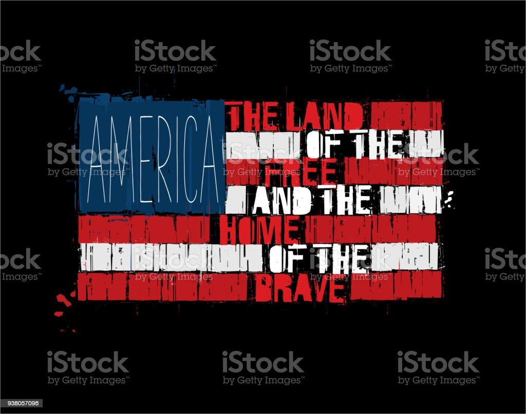 美國文本旗子-勇敢的自由的家的美國土地 - 免版稅具有特定質地圖庫向量圖形