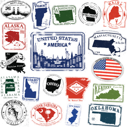 Series of stylized retro/vintage passport style stamps of different American States, and American Flag Decal and a stamp of a series of American landmarks.