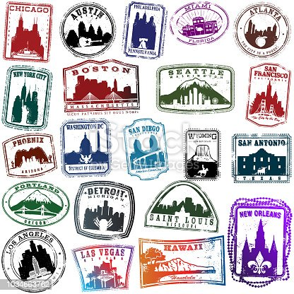 Series of vintage style American Travel Stamps