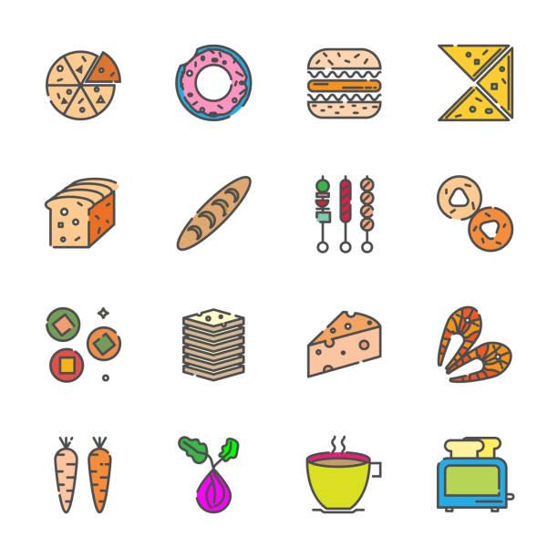 amerikanischevektor gefüllte linie symbol - salatbar stock-grafiken, -clipart, -cartoons und -symbole