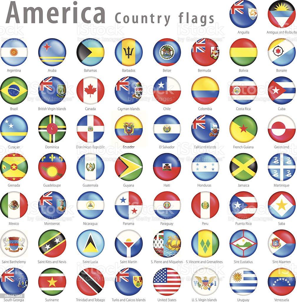 American Vector flag Button Set vector art illustration