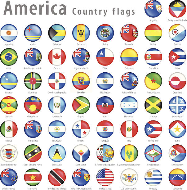 American Vector flag Button Set Hi detail vector shiny buttons with all American Country flags. Every flag is isolated on it's own layer, each properly named with its country name.  central america stock illustrations
