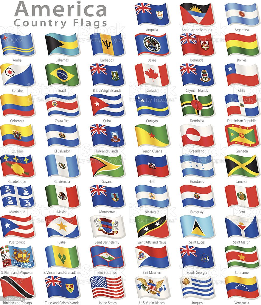 American Vector Waving flag Set vector art illustration