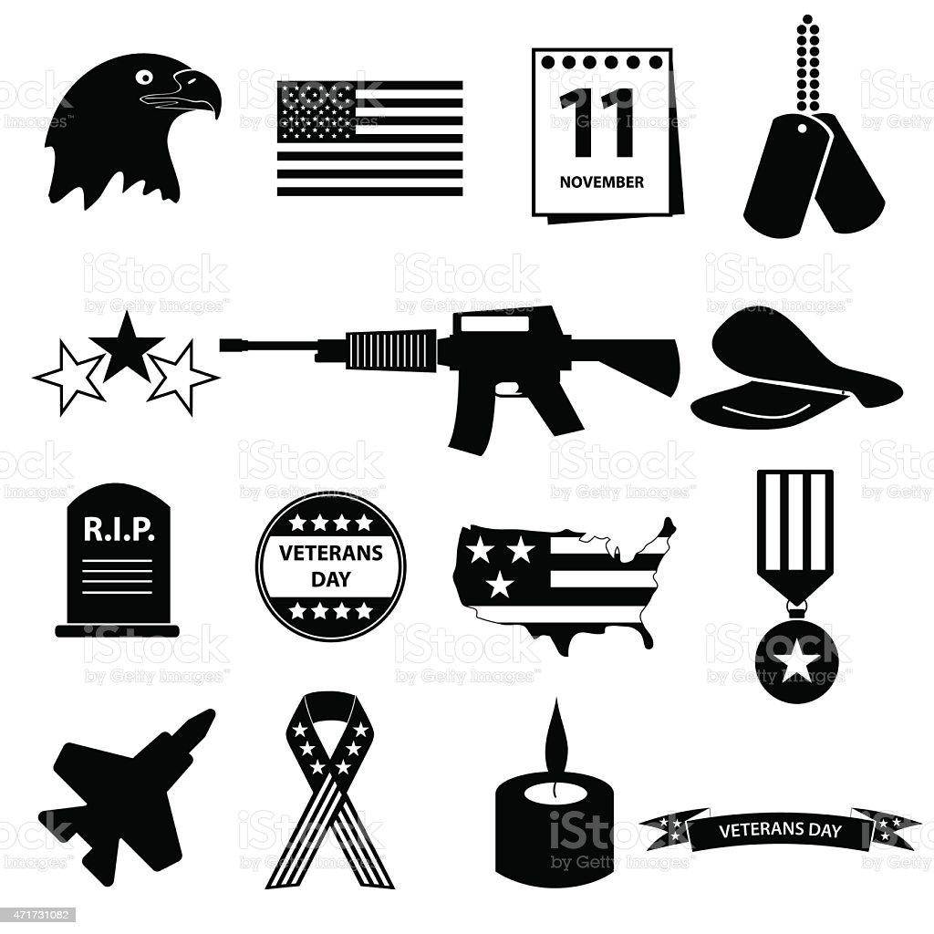 american veterans day celebration icons set eps10 vector art illustration