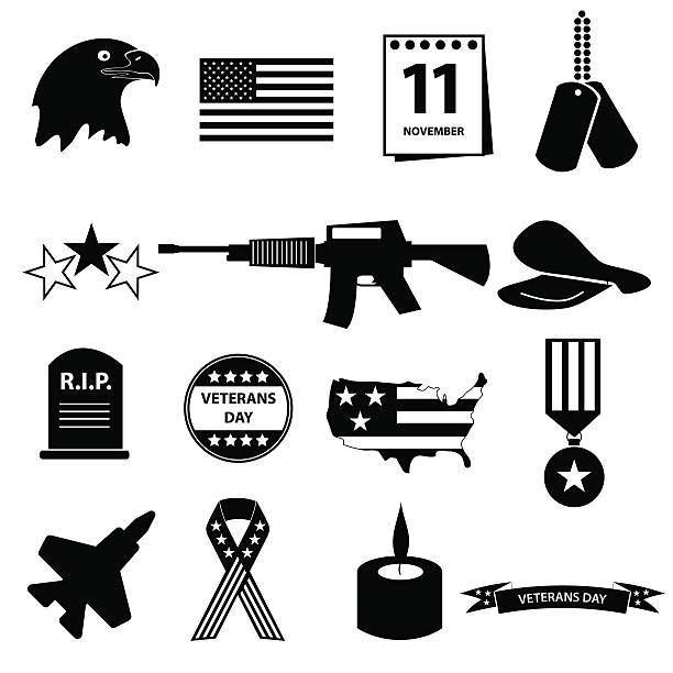 american veterans day celebration icons set eps10 vector art illustration