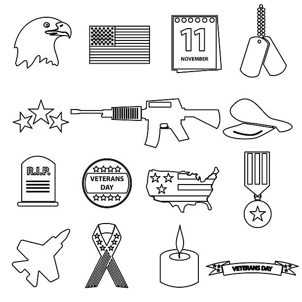 american veterans day celebration outline icons set eps10 vector art illustration
