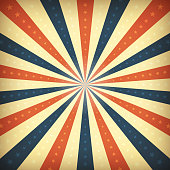 Illustration of an abstract vintage and retro american patriotic poster, with sunbeams background, stars and stripes for fourth of july holiday