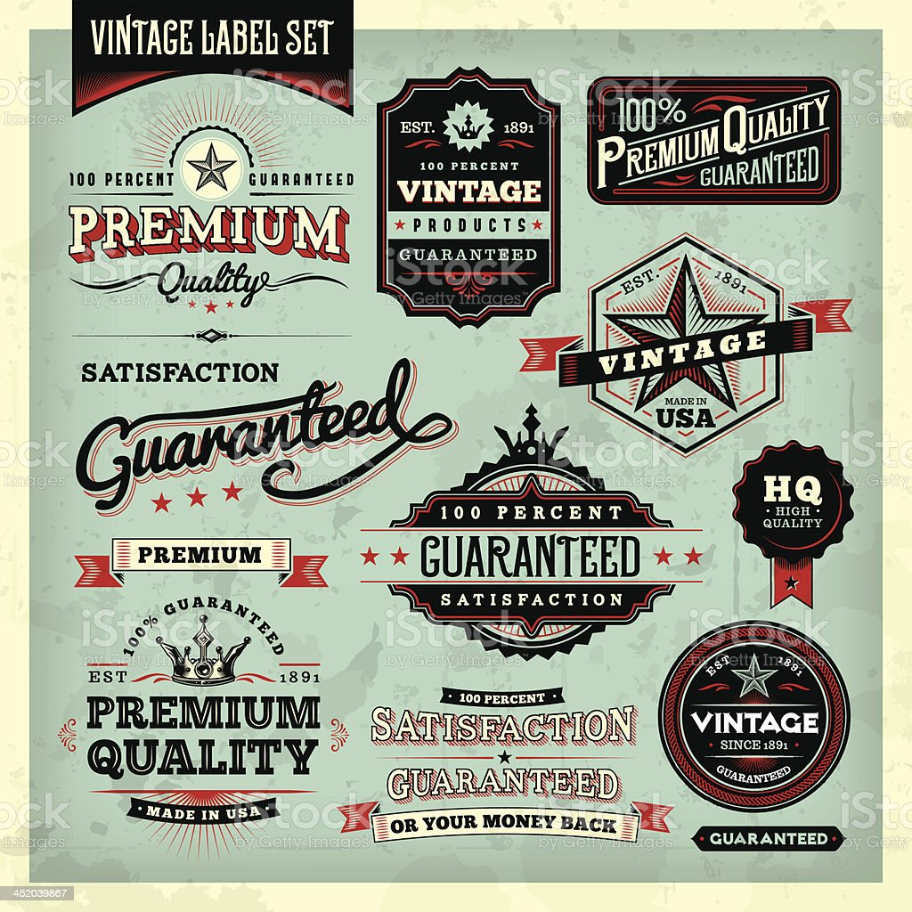 American Vintage Labels vector art illustration