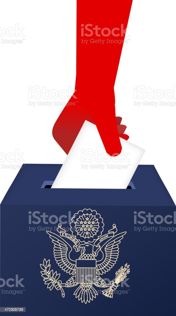American Vote Ballot Box with human hand royalty-free american vote ballot box with human hand stock vector art & more images of ballot box