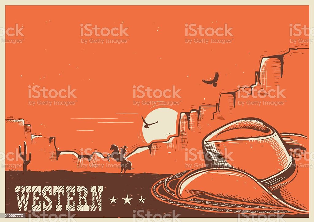 American western poster with cowboy hat and lasso. ベクターアートイラスト