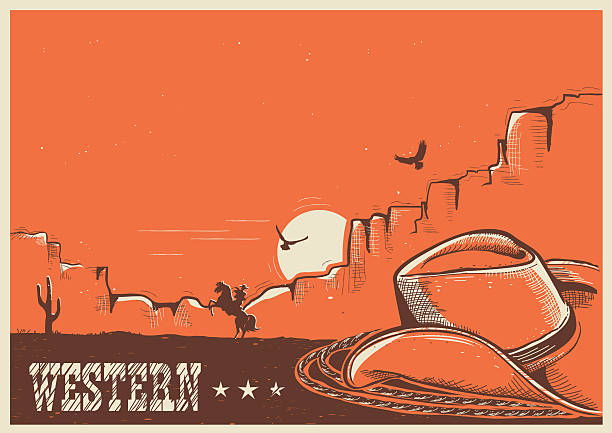 american western poster with cowboy hat and lasso. - ロデオ点のイラスト素材/クリップアート素材/マンガ素材/アイコン素材