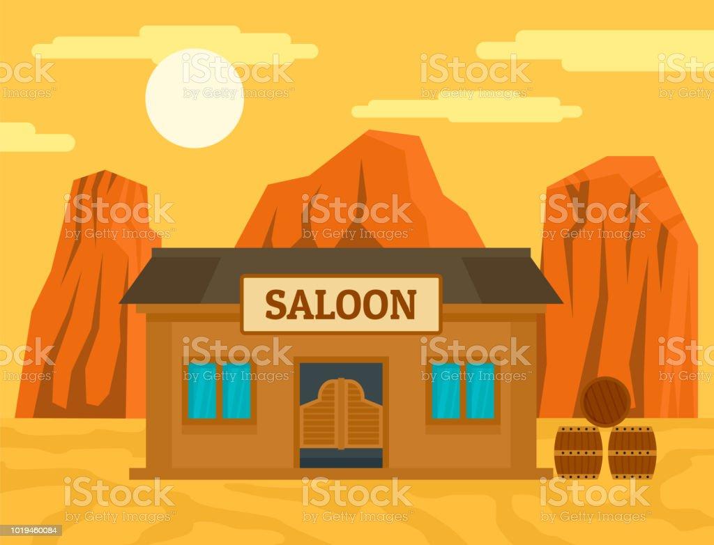 Fond De Salon Ouest Américain Concept Style Plat Vecteurs ...