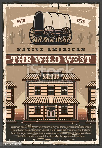 Wild West Texas retro poster of cowboy saloon bar and cactuses in desert. Vector American vintage design of horse wagon carriage and western america wooden saloon building on street
