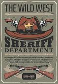 American Wild West sheriff hat, gun