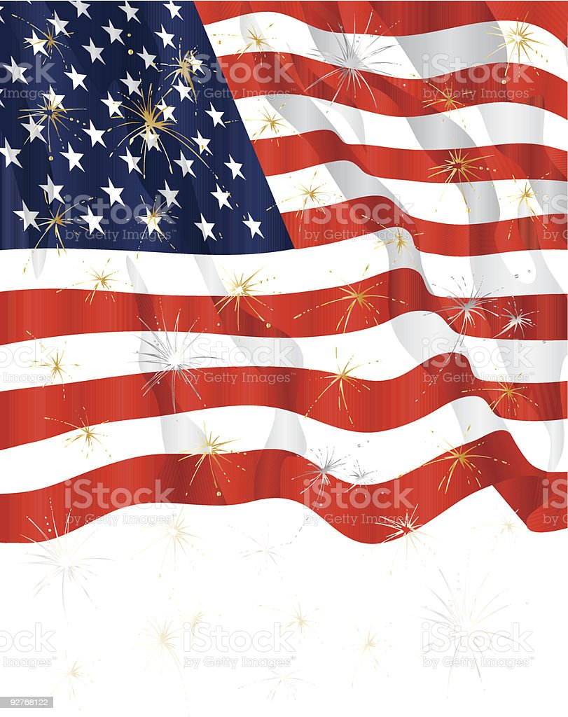 Americana Flag and Fireworks royalty-free stock vector art