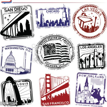 Series of stylized retro/vintage passport style stamps from different American cities.