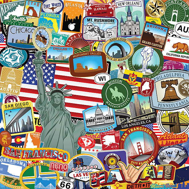 Americana ステッカーカレッジ ベクターアートイラスト