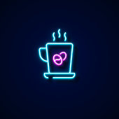 Americano Icon Neon Style, Design Elements