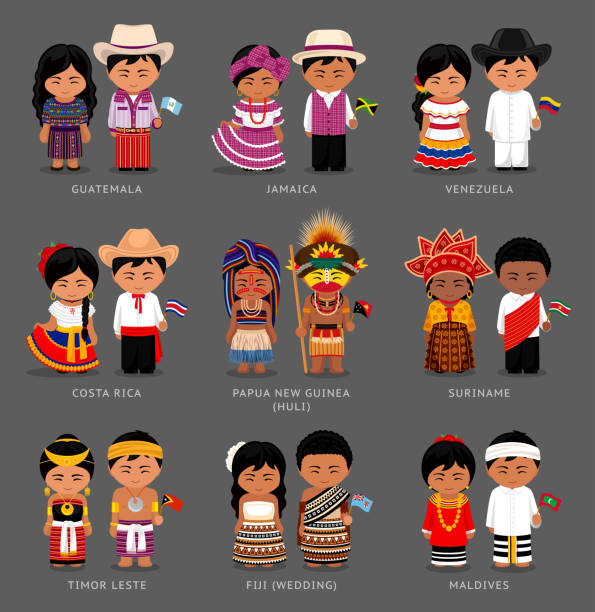 Americans and asians in national dress. People in national dress. South America. Timor Leste, Fiji, Maldives, Papua New Guinea, Huli tribe. Set of pairs dressed in traditional costume with flag. indian family stock illustrations