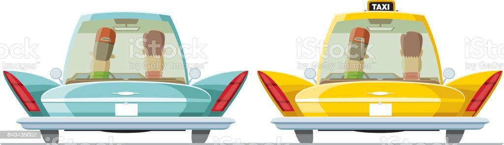 Americar car, taxi and passengers vector art illustration