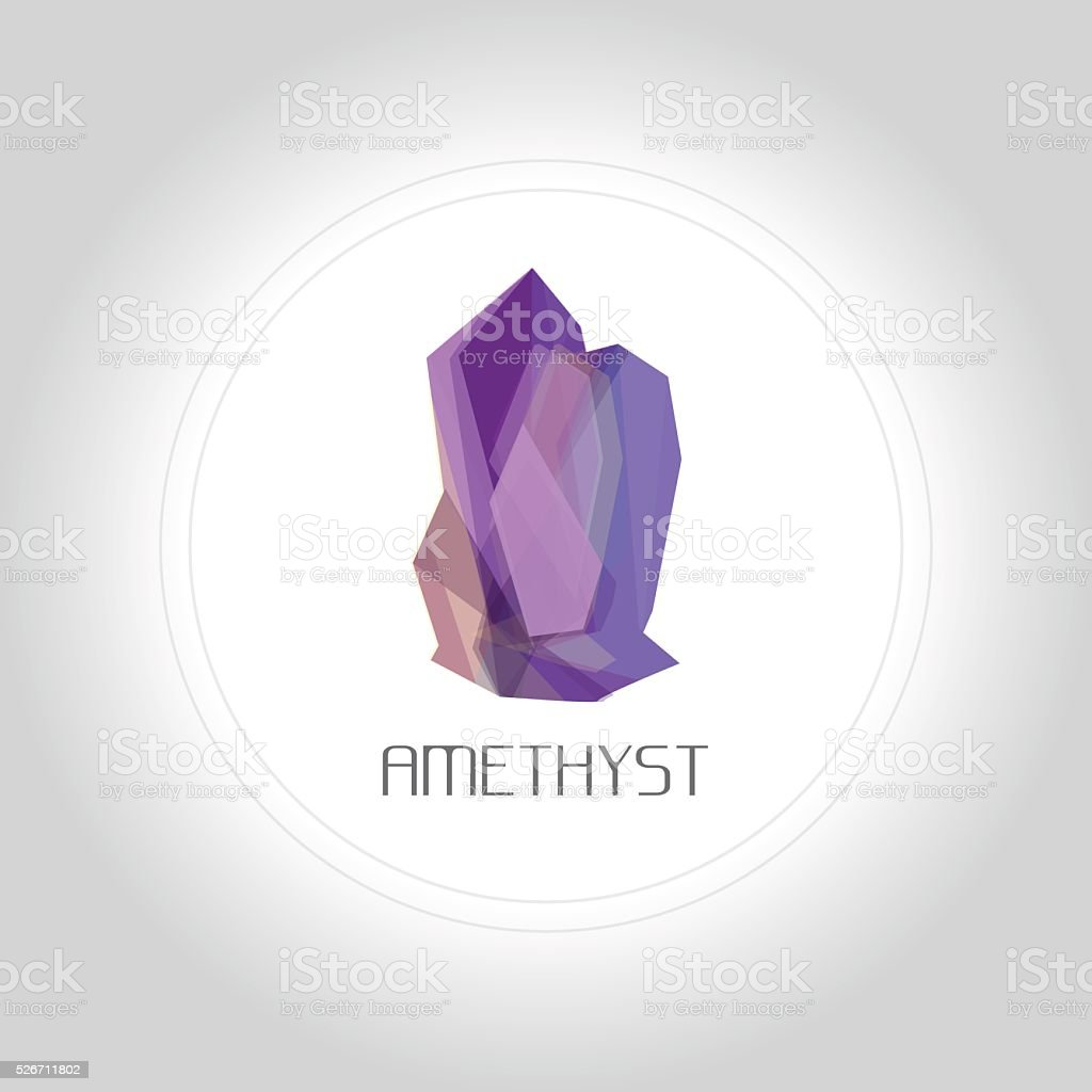 Amethyst gem logo in low lolygon style vector art illustration