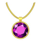 Amethyst necklace icon, realistic style
