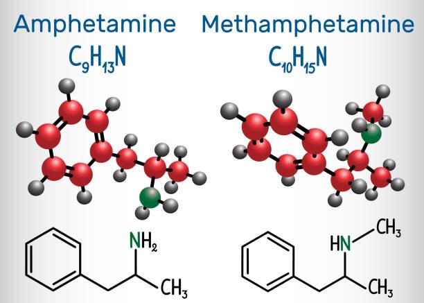 amfetamine (amphetamin, c9h13n) und methamphetamin (crystal meth, c10h15n) molekül. chemische formel und molekül strukturmodell - methamphetamin stock-grafiken, -clipart, -cartoons und -symbole