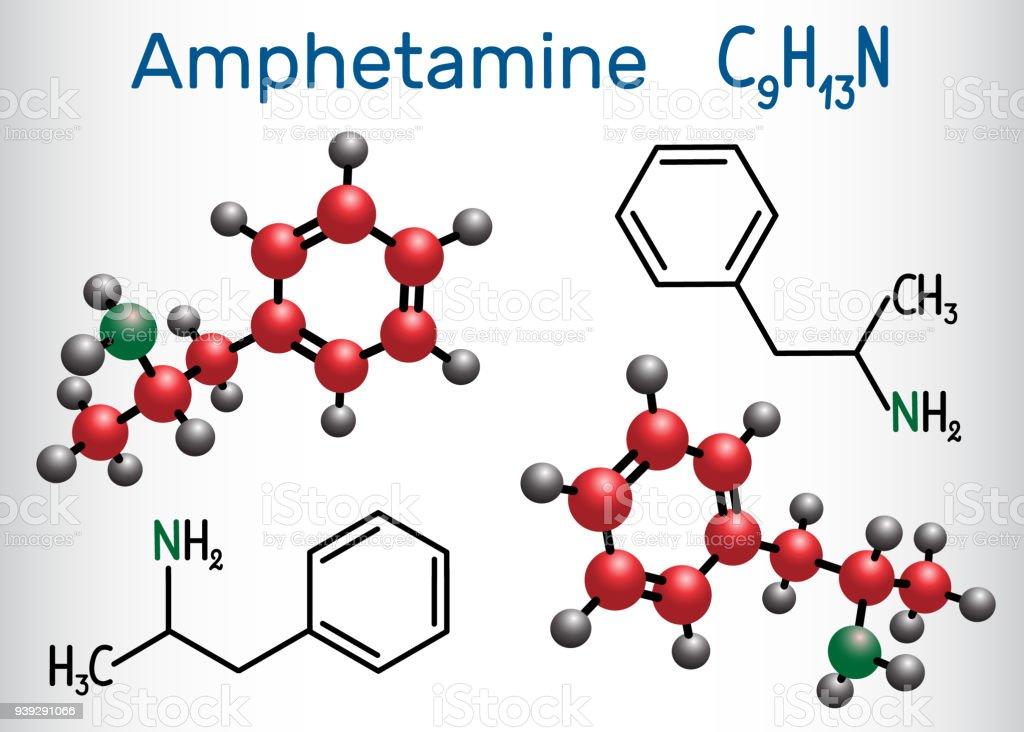 Amfetamine Stimulans Chemische Formel Und Molekül Strukturmodell ...