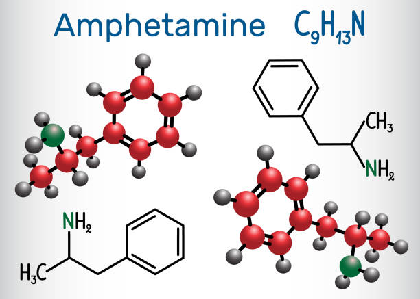 amfetamine (amphetamin, c9h13n) molekül, ist ein potenter zentrale nervensystem (zns) stimulans. chemische formel und molekül strukturmodell - methamphetamin stock-grafiken, -clipart, -cartoons und -symbole