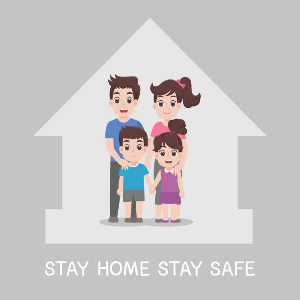 Amily Stay Home Stay Safe Together At Home Stock Illustration ...