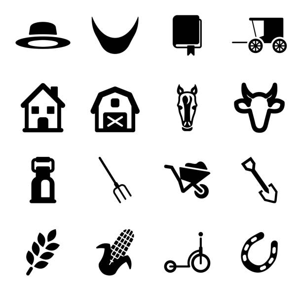 bildbanksillustrationer, clip art samt tecknat material och ikoner med amish icons - working from home