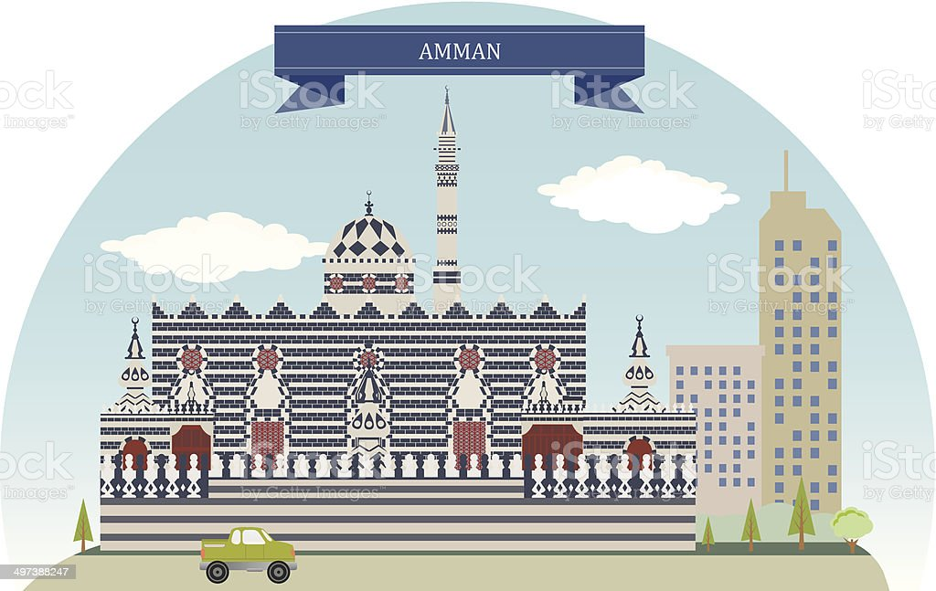 Amman, Jordan vector art illustration