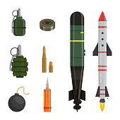 Ammunition flat vector illustrations set. War shell collection isolated on white background. Cartoon weapon assortment. Gun pack color drawing. Military training design element pack