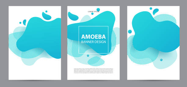 ilustrações de stock, clip art, desenhos animados e ícones de amoeba funky design for print products. dynamic style banner set with amoeba funky gradient elements. creative for poster, web, landing, page, cover, ad, greeting, card, social media, promotion. - amiba