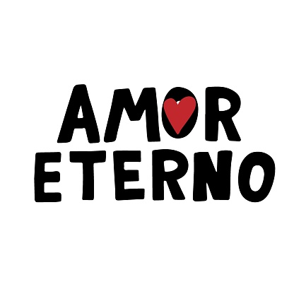 Amor Eterno. Dia de los muertos quote. Happy Day of the Dead. All soul day, mexicano tradicional festive family holiday. Remembering. Spanish ethnic carnival. Hand lettering.