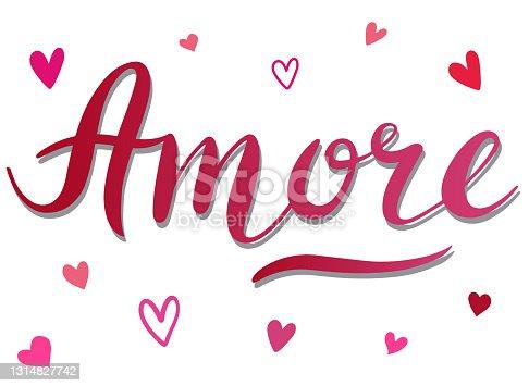 istock Amore - vector Inspirational, handwritten quote. Motivation lettering inscription 1314827742