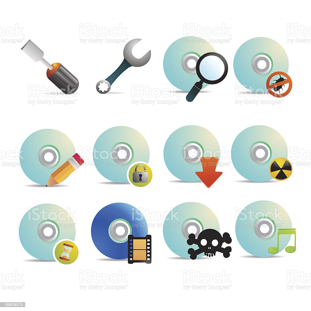 CD-ROM & Entertainment Icon Set vector art illustration