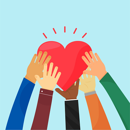 Ampathy and charity. Heart holding by different hands. Vector concept love, volunteer, community christian.