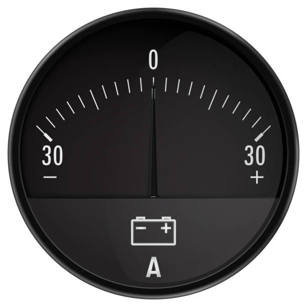 ilustraciones, imágenes clip art, dibujos animados e iconos de stock de ampermeter. amperímetro del coche. carga automática del acumulador - amperímetro