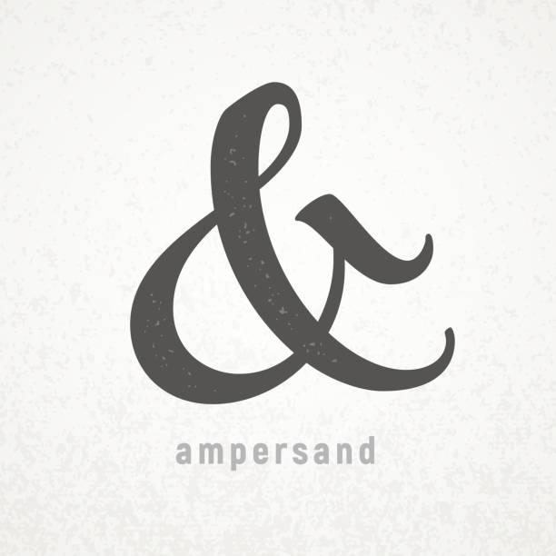 stockillustraties, clipart, cartoons en iconen met ampersand. elegante vector symbool op grunge achtergrond - borden en symbolen