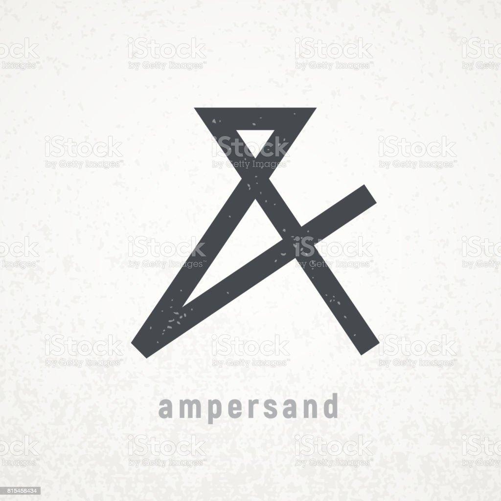 Ampersand. Elegant vector symbol on grunge background vector art illustration
