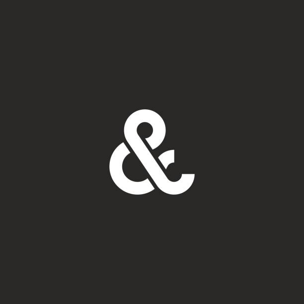 Ampersand icon monogram, typography hipster black and white design element for wedding invitation or business card vector art illustration