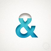 Ampersand Symbol cut out of watercolor paper (white background).