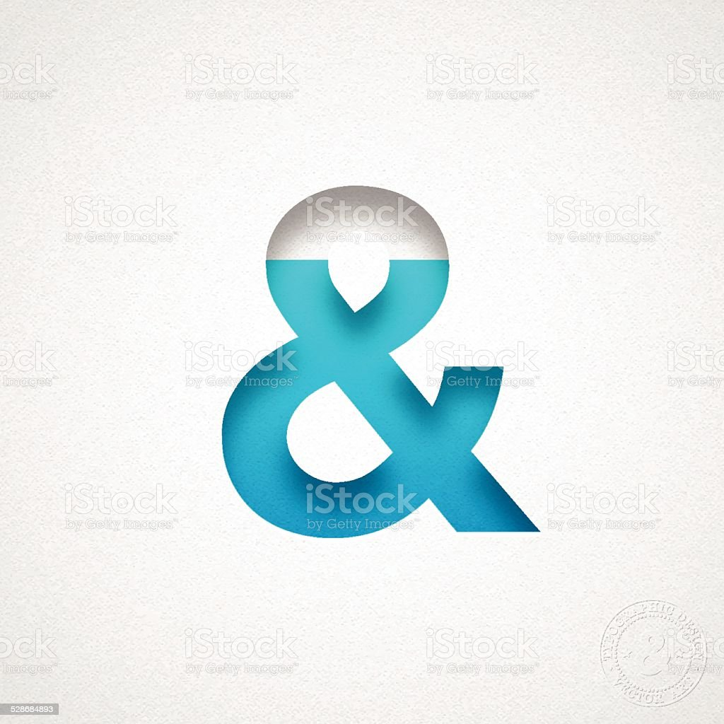 Ampersand Symbol - & - Blue Symbol on Watercolor Paper vector art illustration