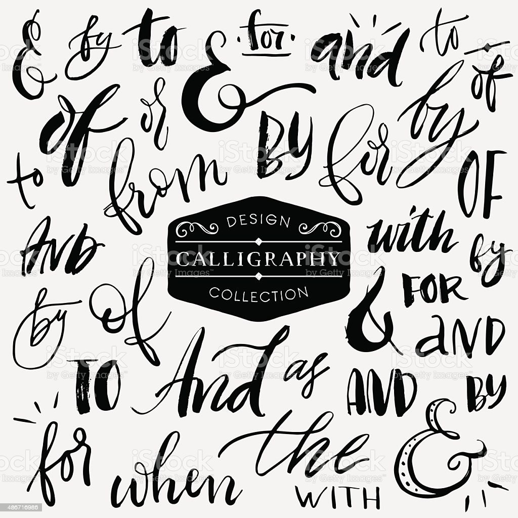 Ampersands and catchwords. Handwritten calligraphy and lettering vector art illustration