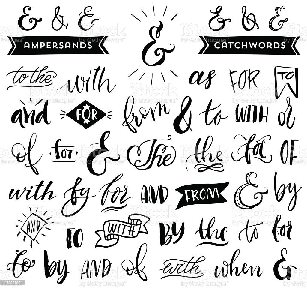 Ampersands and catchwords. Handwritten calligraphy and lettering