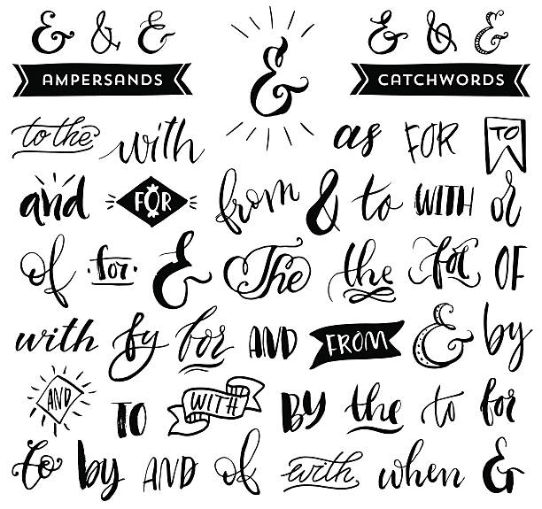 Ampersands and catchwords. Handwritten calligraphy and lettering Hand drawn design elements. single word stock illustrations