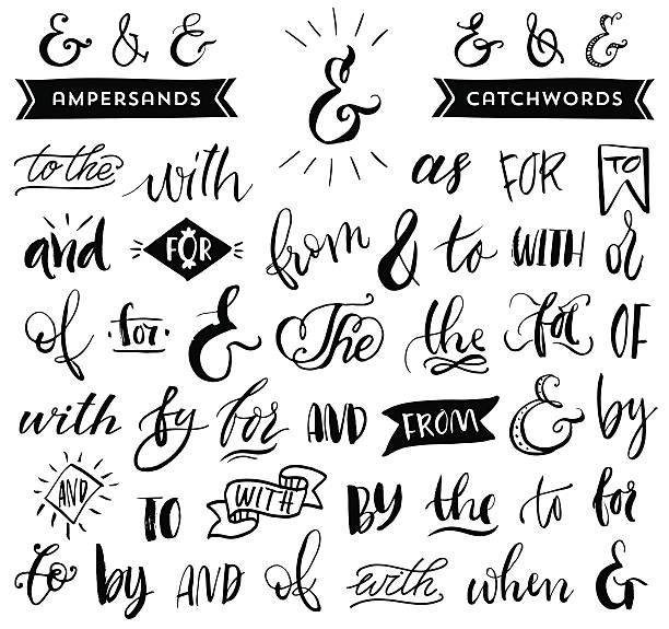 stockillustraties, clipart, cartoons en iconen met ampersands and catchwords. handwritten calligraphy and lettering - borden en symbolen